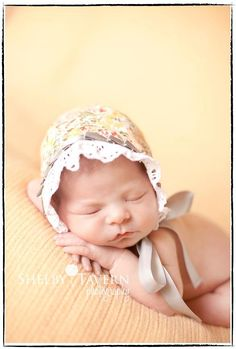 newborn baby girl vintage flowers bonnet photography prop. $20.00, via Etsy.