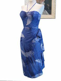 Vintage Tropical Hawaii Hawaiian 1950's 50s Rayon Halter Sarong Dress Tiki Glamour. $165.00, via Etsy.