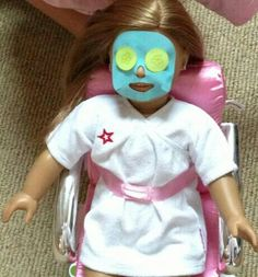 Cute idea. Could be done with felt. American Girl Doll Julie Spa Party.