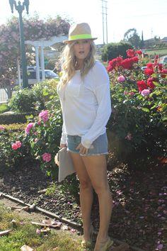 #lime, #fedora, @Old Navy, #clutch, #flower, #shorts, #frayed, #heels, #white, #keynecklace