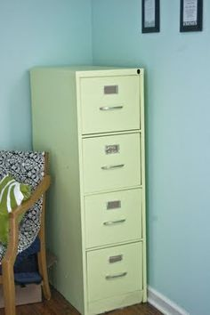 mint colored painted filing cabinet