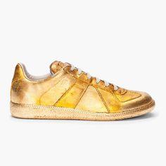 Fancy - Gold Foil Leather Sneakers by Maison Martin Margiela