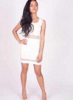 White Party Dress - White Sleeveless Bodycon Dress with