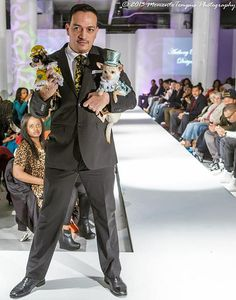 Celebripups Bogie and Kimba Rubio with their dad Top_Pet_Couturier_Anthony_Rubio on therun way for the first ever pet fashion presentation at New york's Brooklyn fashion weekend