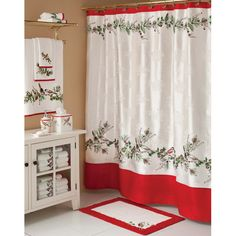 #Winter shower curtain.  #Ivy #Christmas #decor #bathroom #toilettreeproducts
