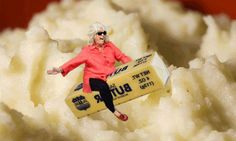 Paula Dean riding butter over mashed potatoes