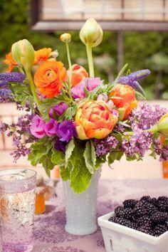 blackberri, flower arrang, purple flowers arrangements, centerpiec, orange county, purpl flower, garden parties, wedding planners, floral