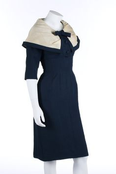 A Jacques Fath couture navy shantung afternoon ensemble, circa 1954