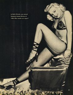Dardy Orlando (aka. Rosemary Dardy Blackadder) strikes a sexy pose in the pages of the October '50 issue of 'Carnival' magazine.. Dardy was the younger sister of Lili St. Cyr; and retired from performing shortly after marrying famed Burly-Q producer: Harold Minsky..