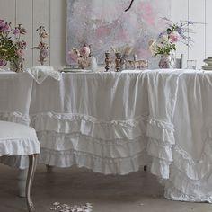 Love this ruffled white table cloth - Rachel Ashwell Prairie...