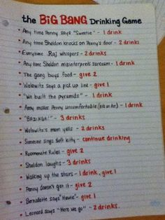 the big bang drinking game !