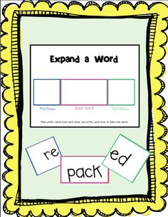 great idea for teaching prefix and sufix!