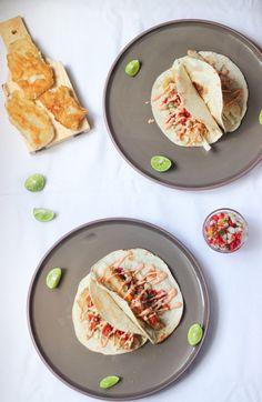 Beer-Battered Fish Tacos with Sriracha Mayo