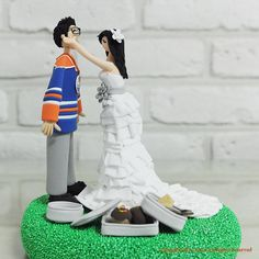 Playful couple with baking cookies custom wedding cake topper by annacrafts, $200.00