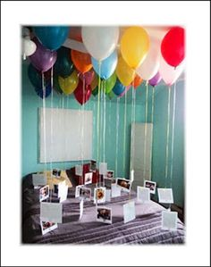 Fabulous idea for a birthday. Messages of love attached to a balloon or a fun way to have photos floating around a party for guests to look at.