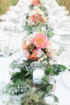 Rustic + Romantic Ojai Valley Inn Wedding by All You Need is Love Events; wedding centerpieces with peonies