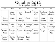 Blogger made a workout plan for the month and has lists of different workouts to choose from for each type of workout!