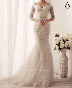 wedding dresses/mermaid wedding dresses/plus size wedding dresses/long sleeve wedding dresses/lace wedding dresses+BV/w49/m