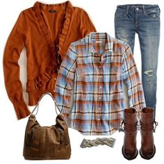 sweater, boot, fall fashions, fall clothes, color, burnt orange, fall looks, fall outfits, plaid shirts