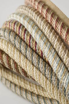 "Charles Faudree Passementerie Trimmings collection: Jonquille is a 3/8"" cord with a unique, subtle stripe effect. #charlesfaudree #stroheim #trimmings"