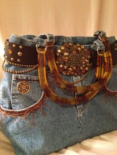 Denim Purse - Faux Tortoise shell handles - Gemstone Belt Buckle... SO CUTE!