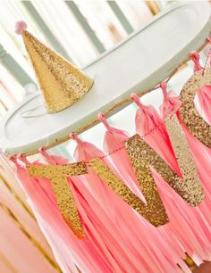 Pink, gold and mint is such an adorable color palette for a baby girl's birthday party. Whip up this cute DIY high chair in a snap!
