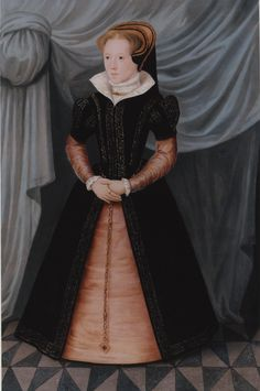 Mary I by the English School after Hans Eworth, c. 1550s-Though the later Tudor Era gowns, those we see in portraits from the Elizabethan Period, capture much of our attention, it is the form of this earlier style I find so pleasing.The classic mid-16th century English look is created in large part by the farthingale: an inverted small triangle of the bodice over a larger one of the skirt.
