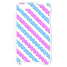 Pink and Blue Rickrack Pattern iPod Touch 2 Case  A colorful rickrack pattern of blue and pink diagonal, zigzag stripes.
