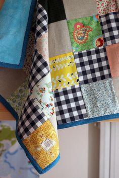 Zakka style baby boy patchwork blanket.