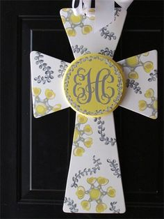 Baby Cross with Initials $40 : Choose your colors to match the bedding.  Hang the cross on the door at the hospital, move it to the front door to greet your guest and after the guest are gone, hang it in the baby's room or on their door.