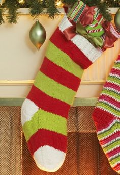 Christmas Colors Stocking | AllFreeKnitting.com This free printable stocking pattern will put you in the Christmas spirit. Bring your favorite holiday colors into your home with the Christmas Colors Stocking.