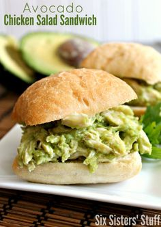 Avocado Chicken Salad Sandwhiches - This really takes 3 minutes to throw together. It is healthy and delicious!