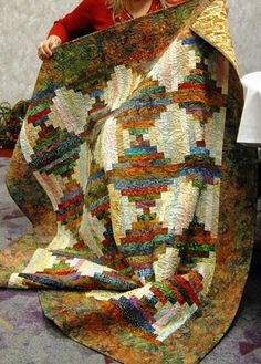 Courthouse Steps Batik Quilt