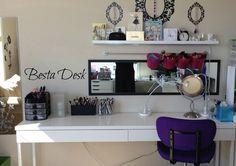 vaniti desk, makeup desk ideas, desk drawer, desk and vanity
