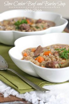 Beef & Barley Soup - I make this, almost the exact recipe on the stove, but crockpot is always a great option. If making in crockpot, add more liquid or skim cook time.