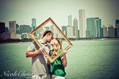 City Engagement Photo Frame Kiss Wedding  Nicole Christine Photography