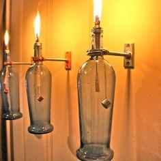 Blue Wine Bottle Oil Lamp