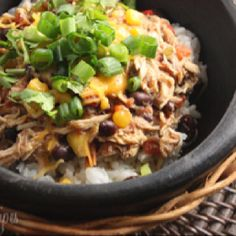 Slow cooked shredded chicken with corn, tomatoes and black beans. Prepare the night before and turn your crock pot on in the morning for an easy weeknight meal. Low fat and low in points. Serve over rice with chopped scallions, fresh cilantro, fat free sour cream and reduced fat cheddar.  Crock Pot Santa Fe Chicken  Gina's Weight Watcher Recipes Servings: 8 servings • Size: 1 cup • Old Points: 3 pts • Points+: 4 pts Calories: 190 • Fat: 1.5 g • Fiber: 5.6 g • Carbs: 23.1 g • Protein: 21 g  24...