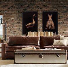 distressed leather sofa.