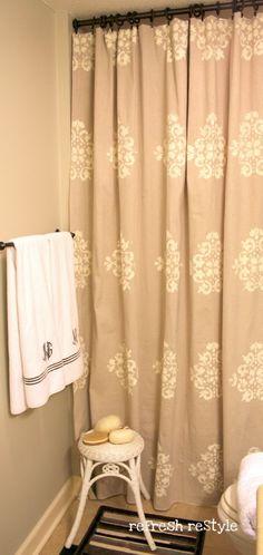 stenciled drop cloth shower curtain