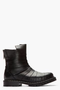 Black Paneled Leather Boots