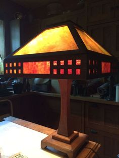 c.1910   Arts and Crafts   Mission Oak and Glass Table Lamp   cut-outs   Craftsman / Prairie style