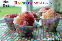 All Natural, No-Dye Healthy Snow Cones with real fruit and veggie juice! #dyefree #treats #parties