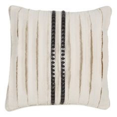 Kreme Textured Raw Torn Studs Pillow in Ivory