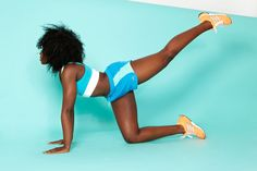 Keeping your abs tight, slowly and deliberately rotate your leg in three wide circles. This will work the glutes as well as your inner and outer thighs.