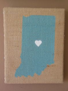 Indiana - 8x10 Painting on Burlap Canvas Art - Blue