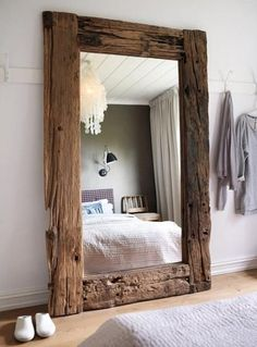 Reclaimed wood floor mirror.