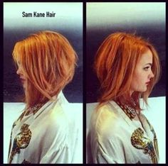 The Angled Bob Hairstyle - this color is perfect & I wish I could do this cut with curly hair