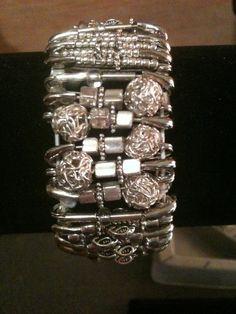 Chunky Silver Beaded Safety Pin Bracelet by GodsGlitter on Etsy, $35.00