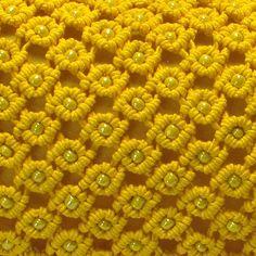 Yellow beaded macrame bag Sunny by makrame